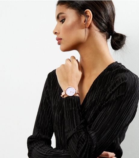 Shell Pink Glitter Watch  | New Look