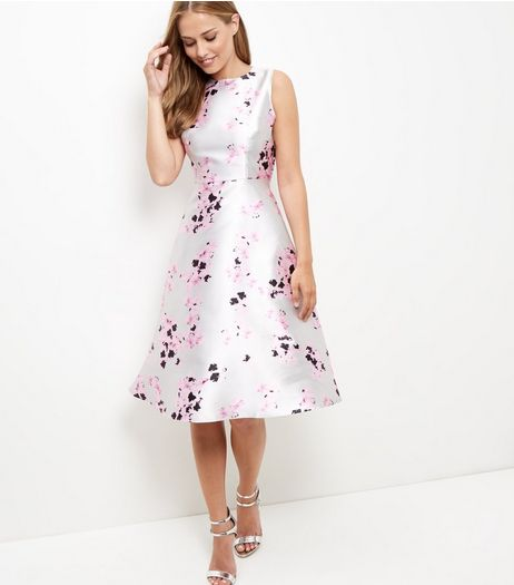 AX Paris Light Grey Floral Print Midi Dress | New Look