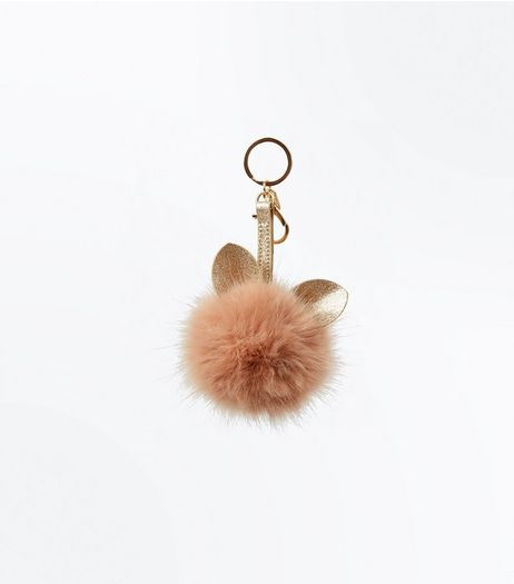 Shell Pink Faux Fur Cat Pom Pom Keyring | New Look