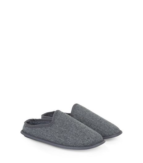 Grey Herringbone Mule Slippers | New Look
