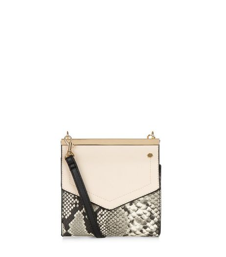Cream Snakeskin Print Across Body Bag | New Look