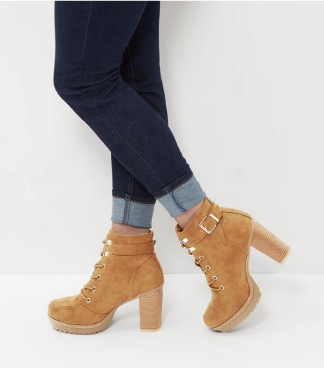 Wide Fit Tan Suedette Buckle Strap Lace Up Boots  | New Look