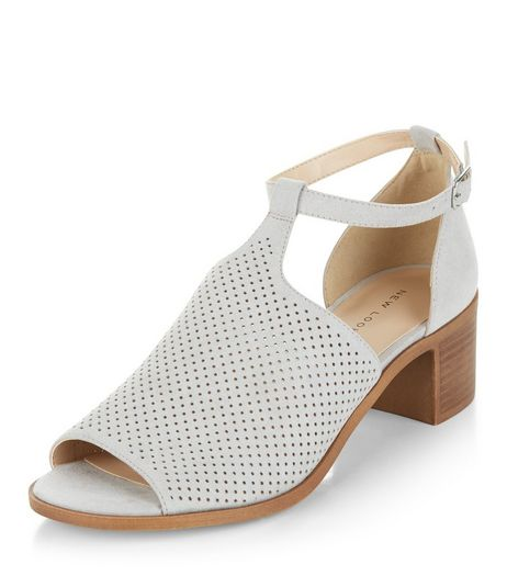 Grey Suedette Laser Cut Out Peep Toe Sandals  | New Look