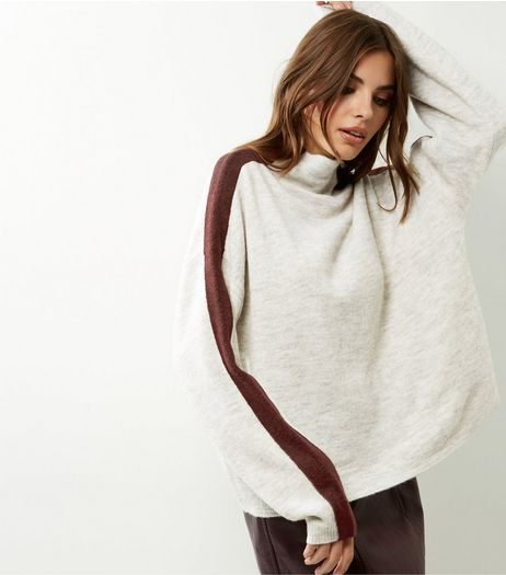 Tall Light Grey Stripe Sleeve Funnel Neck Jumper | New Look