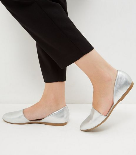 Silver Cut Out Pumps | New Look