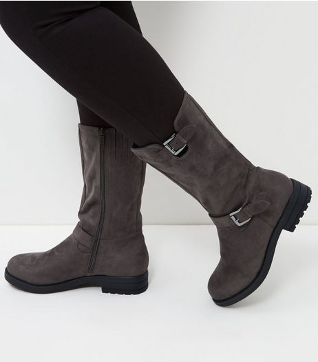 Wide Fit Grey Suedette Buckle Strap Biker Boots  | New Look