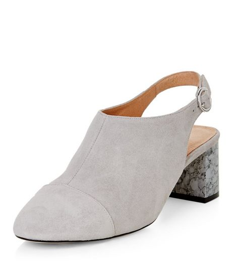 Grey Premium Leather Sling Back Marble Block Heels  | New Look