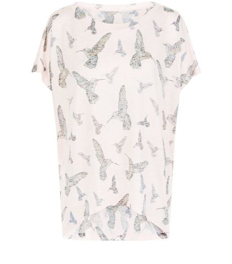 QED Pink Bird Print Oversized Top | New Look