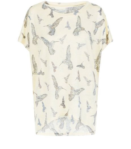 QED Yellow Bird Print Oversized Top | New Look