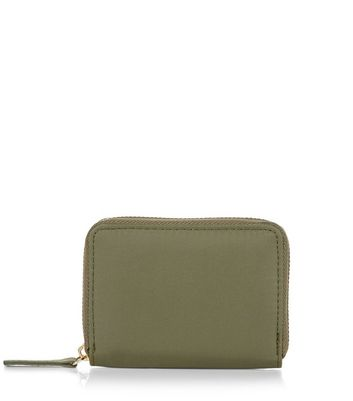 Khaki Mini Zip Around Card Holder