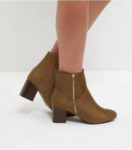 Wide Fit Khaki Suedette Block Heel Chelsea Boots | New Look