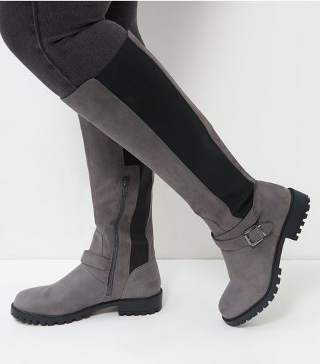 Wide Fit Grey Suedette Elasticated Knee High Boots  | New Look