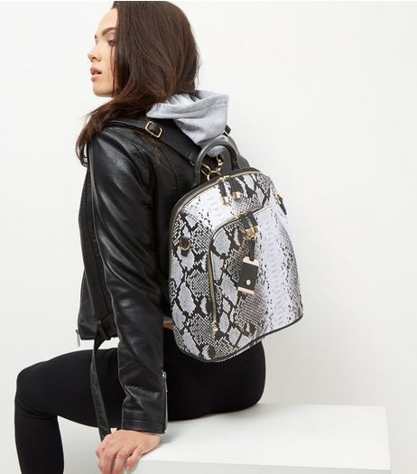 Grey Snakeskin Print Backpack | New Look
