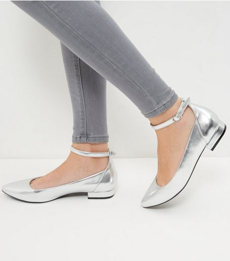 Wide Fit Silver Ankle Strap Pointed Pumps  | New Look
