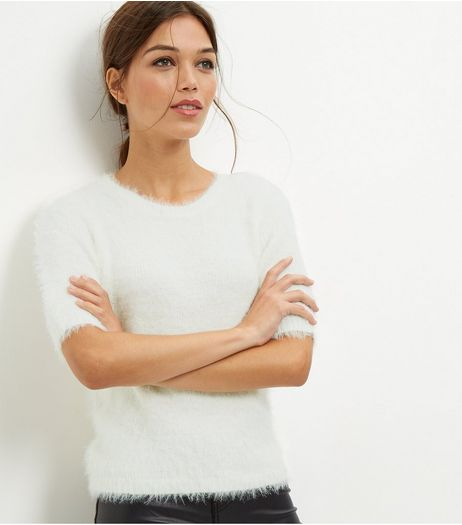 White Faux Fur T-Shirt  | New Look