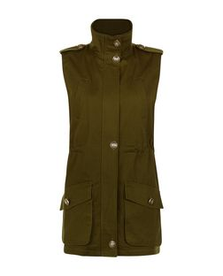 Cameo Rose Khaki Sleeveless Jacket | New Look