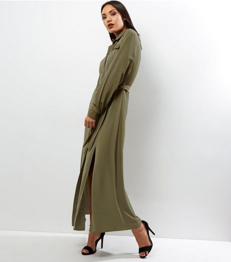 Cameo Rose Khaki Tie Waist Maxi Shirt Dress | New Look