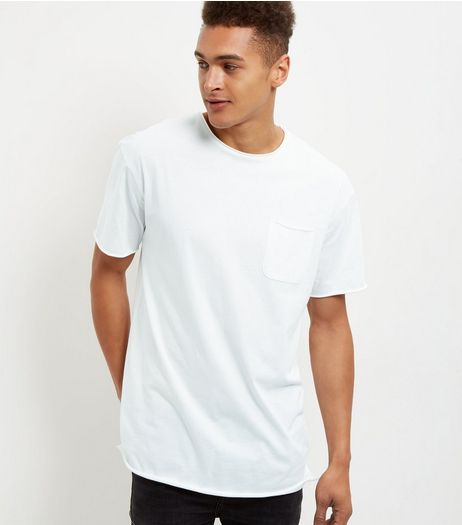 Cream Single Pocket Slub Longline T-Shirt  | New Look