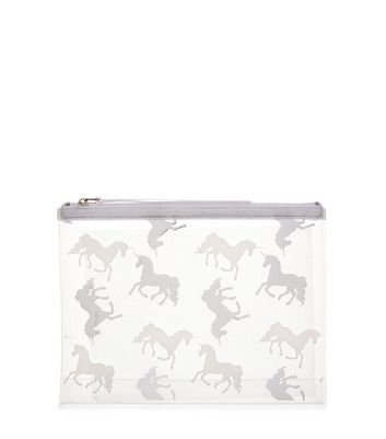 Product photo of Silver unicorn cosmetic bag