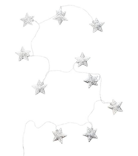 Silver Filigree Star Fairy Lights | New Look