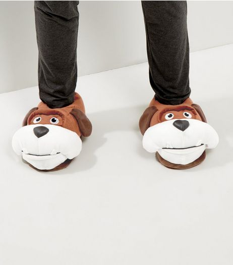 Brown Bulldog Slippers | New Look