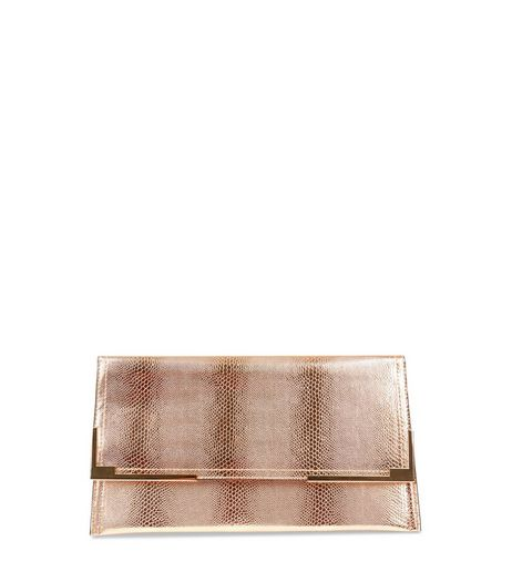 Rose Gold Metallic Snakeskin Texture Clutch | New Look
