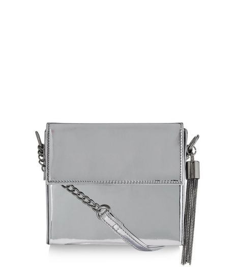 Silver Metallic Shoulder Bag  | New Look