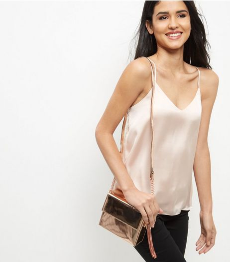 Bronze Metallic Shoulder Bag  | New Look