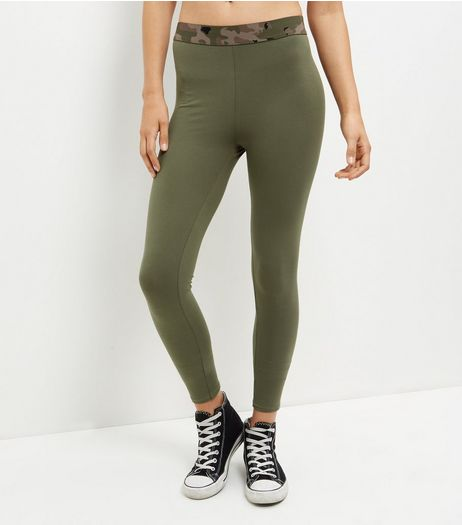 Khaki Camo Print Elastic Waistband Leggings  | New Look