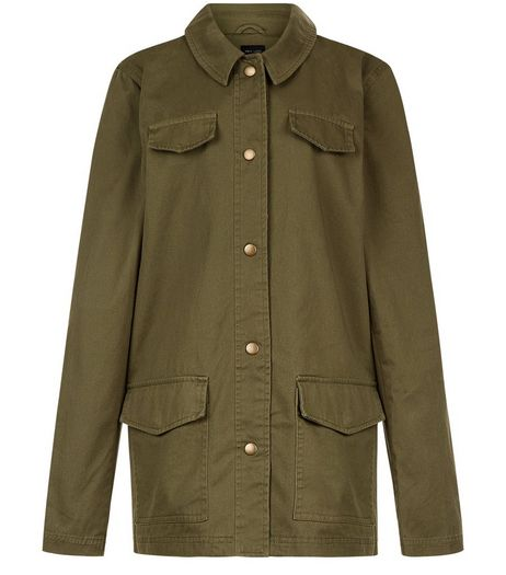 Teens Khaki Love Embroidered Back Utility Jacket | New Look