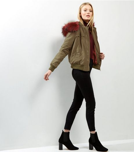 Blue Vanilla Khaki Faux Fur Trim Bomber Jacket  | New Look