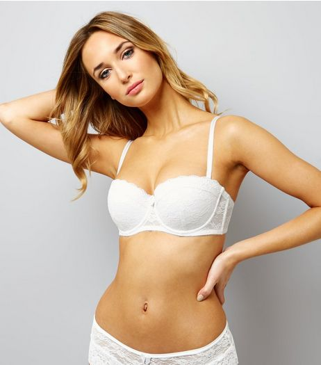 White Lace Strapless Bra | New Look