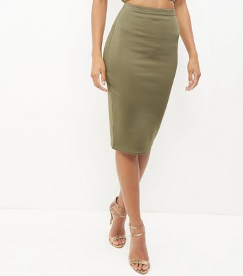 Khaki Scuba Pencil Skirt