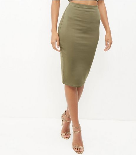 Khaki Scuba Pencil Skirt  | New Look