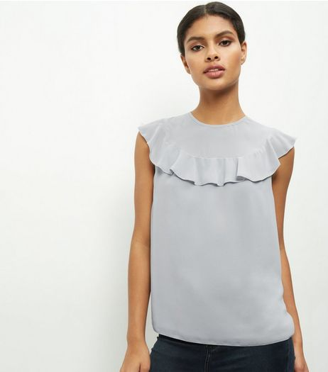 Grey Chiffon Panel Frill Trim Sleeveless Top | New Look