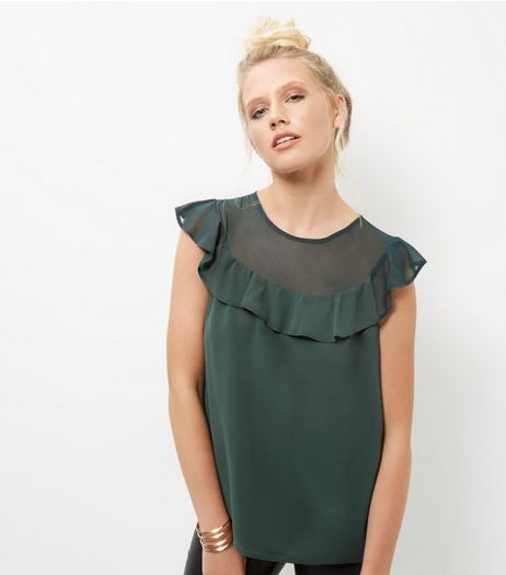 Dark Green Mesh Panel Frill Trim Sleeveless Top | New Look