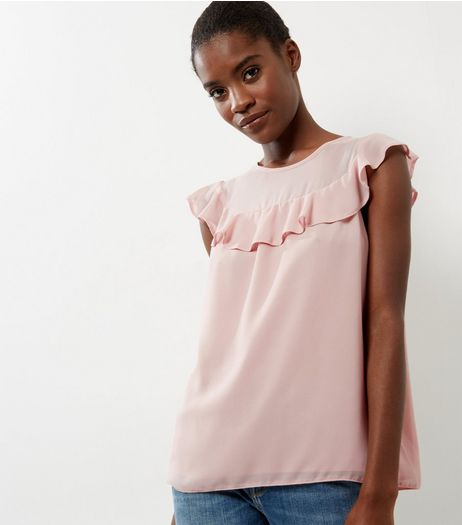 Shell Pink Chiffon Frill Trim Sleeveless Top  | New Look