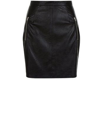 Cameo Rose Black Leather-Look Zip Pocket Mini Skirt