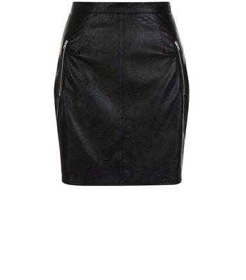 Gonna  donna Cameo Rose Black Leather-Look Zip Pocket Mini Skirt