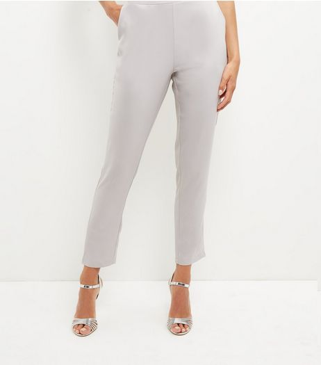 Cameo Rose Grey Slim Leg Trousers | New Look