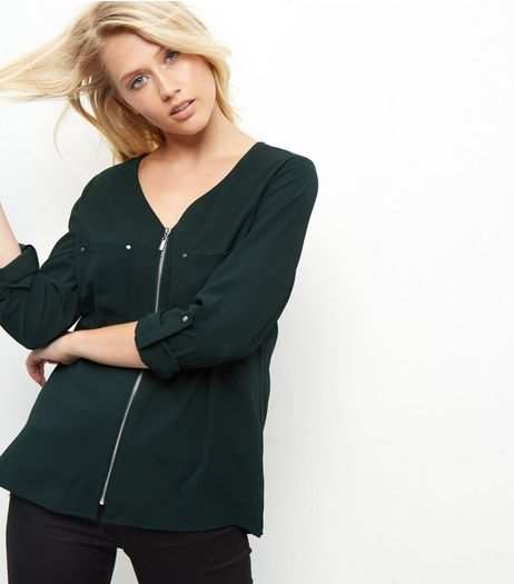 Dark Green Zip Front V Neck Shirt  | New Look