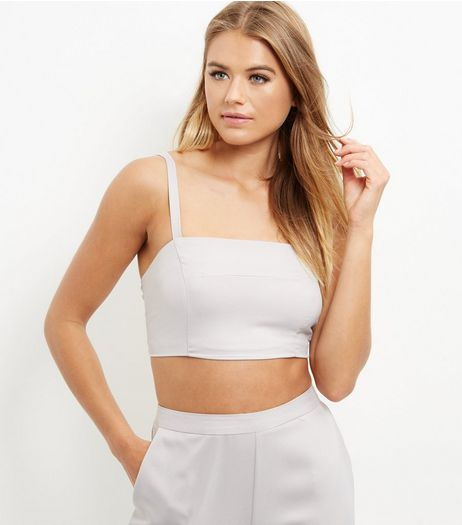 Cameo Rose Grey Strappy Bralet  | New Look