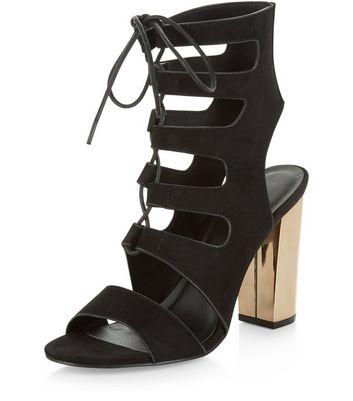 Sandalo  donna Black Suede Ghillie Metal Block Heels