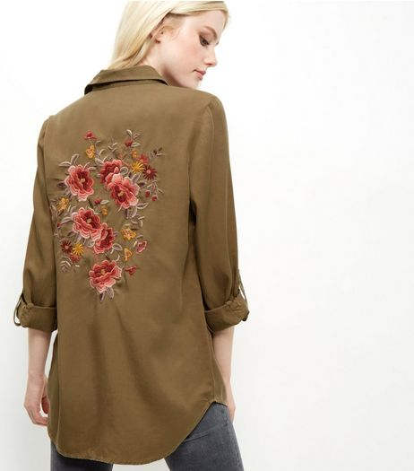 Khaki Floral Embroidered Back Longline Shirt  | New Look