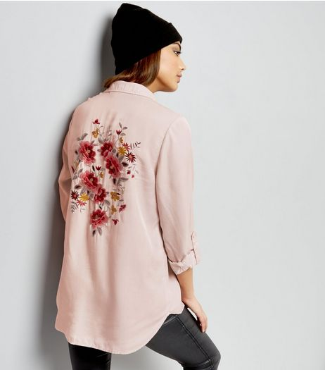Shell Pink Floral Embroidered Back Shirt  | New Look