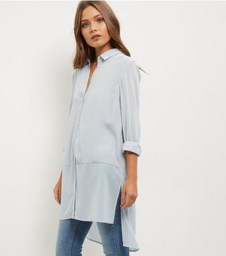 Grey Sheer Panel Longline Shirt  | New Look