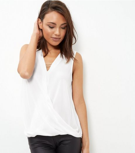 Cream Chain Wrap Front Sleeveless Top  | New Look