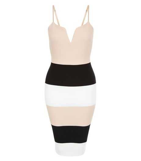 Parisian Shell Pink Colour Block Bodycon Dress | New Look