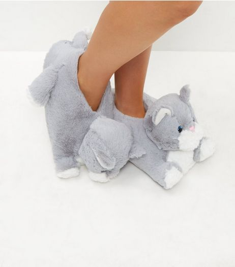 Grey Cat Slippers | New Look