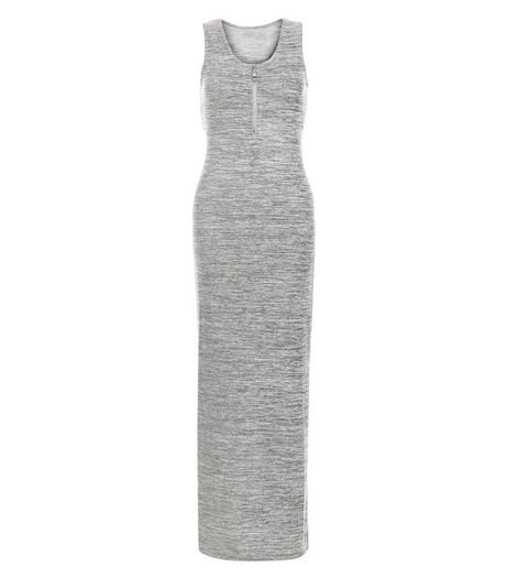 Apricot Grey Zip Front Split Side Maxi Dress | New Look